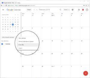 On the left, click on Add a friend's calendar. Click on from URL.