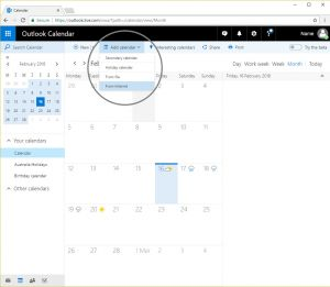 On the toolbar select Add calendar - From internet.
