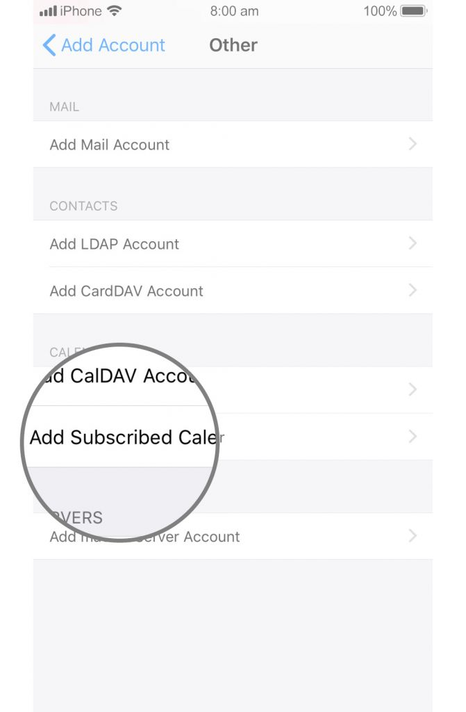 In the Server field we enter the location (the subscription url) of the calendar.